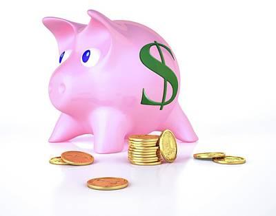 Piggy Bank And Gold Coins Print by Leonello Calvetti