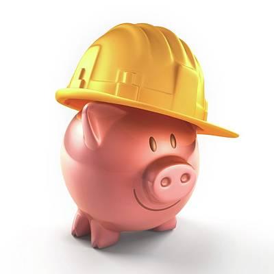Piggy Bank And Hard Hat Print by Ktsdesign