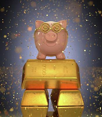 Piggy Bank On Gold Bullion Print by Ktsdesign