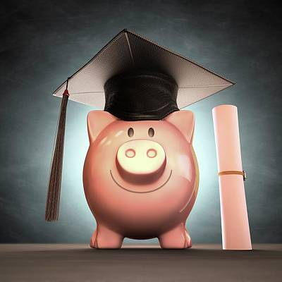 Piggy Bank Wearing Graduation Cap Print by Ktsdesign