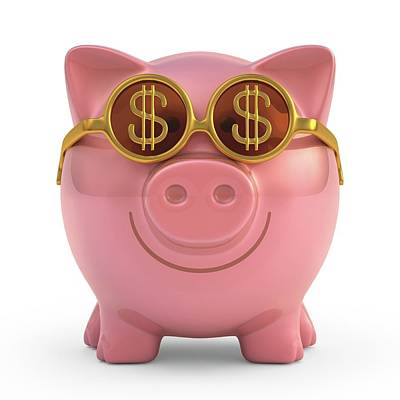 Piggy Bank With Sunglasses Print by Ktsdesign