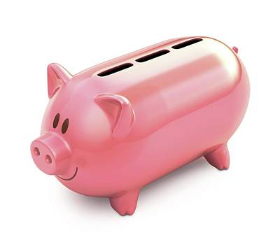 Piggy Bank With Three Slots Print by Ktsdesign