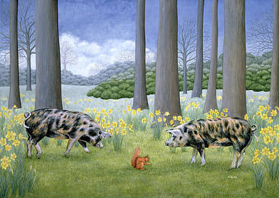 Wild Hogs Painting - Piggy In The Middle by Ditz