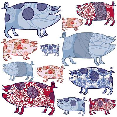 Piggy In The Middle Print by Sarah Hough