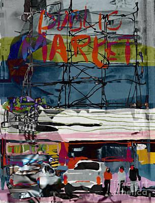 Seattle Digital Art - Pike Place Market by Jennifer Wu