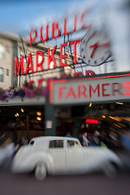 Metal Fish Art Photograph - Pike Place Publice Market Neon Sign And Limo by Scott Campbell