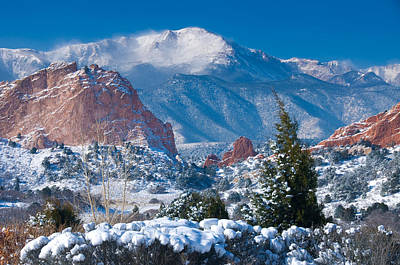 Of Trees Photograph - Pikes Peak In Winter by John Hoffman