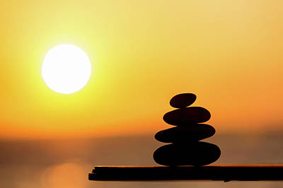 Pile Of Stone At Sunset Print by Wladimir Bulgar