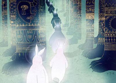 Rabbit Digital Art - Pilgrimage by Yoyo Zhao