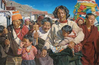 Pilgrim Painting - Pilgrims by Victoria Kharchenko