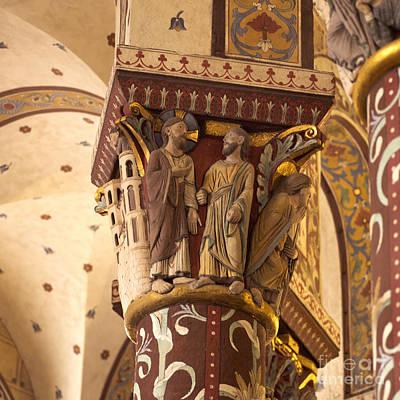 Carving Photograph - Pillar In The Roman Church Of Saint-austremoine D'issoire. Auvergne. France. Europe by Bernard Jaubert