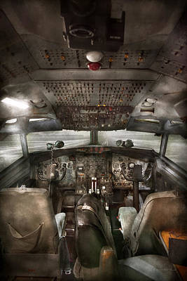 Runway Fashion Art Photograph - Pilot - Boeing 707  - Cockpit - We Need A Pilot Or Two by Mike Savad