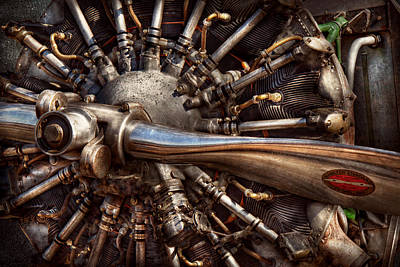 Aviator Print featuring the photograph Pilot - Plane - Engines At The Ready  by Mike Savad