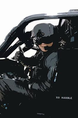 Blackhawk Painting - Instructor Pilot by Julio Lopez
