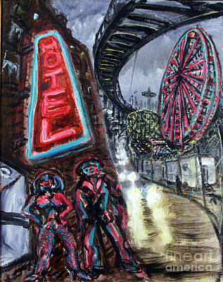 Surreal Painting - Pimp And Prostitute In Coney Island by Arthur Robins
