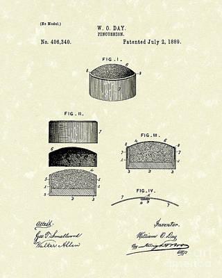 Pincushion Drawing - Pincushion 1889 Patent Art by Prior Art Design
