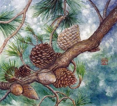 Sakura Painting - Pine Cone by Tomoko Koyama