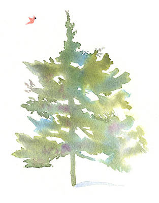 Cardinals In Watercolor Painting - Pine Tree And Cardinal by Michele Angel