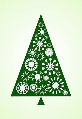 Ornament Digital Art - Pine Tree Snowflakes - Green by Anastasiya Malakhova