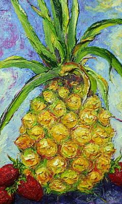 Pineapple And Strawberries Print by Paris Wyatt Llanso