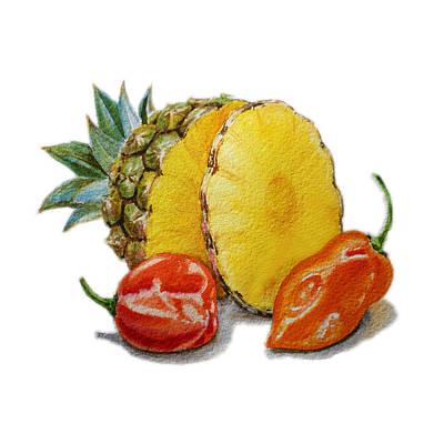 Orange Painting - Pineapple Habanero Muy Caliente   by Irina Sztukowski