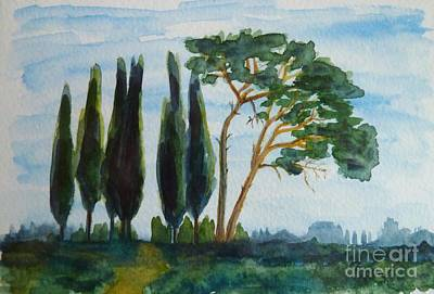 Tree Painting - Pines And Cypresses In A Row by Christine Huwer
