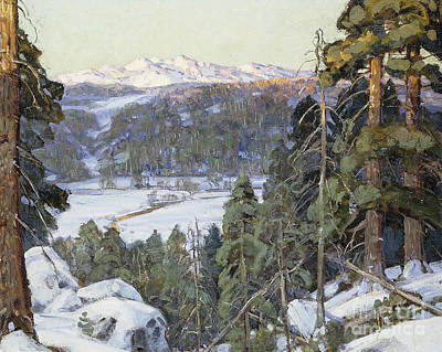 Distant Mountains Painting - Pines In Winter by George Gardner Symons