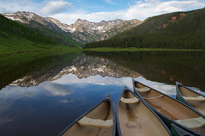 Gore Range Photograph - Piney Lake Canoes by Aaron Spong