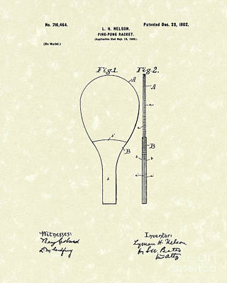 Ping Pong Drawing - Ping-pong Racket 1902 Patent Art by Prior Art Design