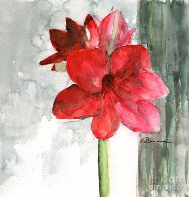 Pink Amaryllis Print by Claudia Hafner