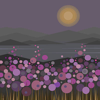 Purple Flowers Digital Art - Pink And Purple Flowers At Evening by Val Arie