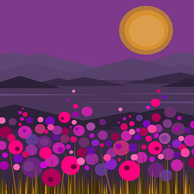 Pink And Purple Flowers Print by Val Arie