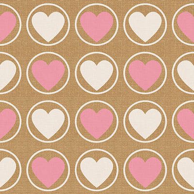 Pink And White Hearts Print by Linda Woods