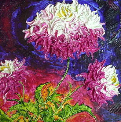 Pink And White Mums Print by Paris Wyatt Llanso