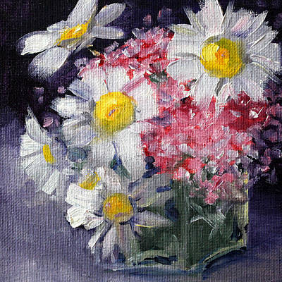 Impressionistic Still Life Painting - Pink And White by Nancy Merkle