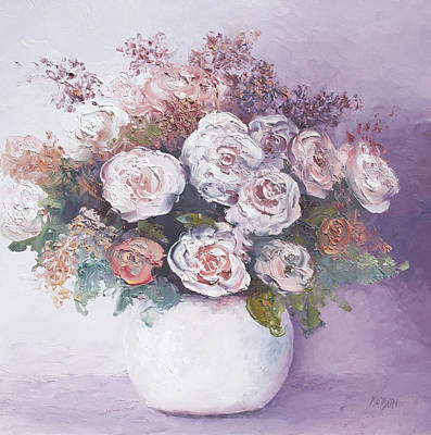 Pink And White Roses Print by Jan Matson