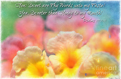 Pink And Yellow Lantana With Verse Print by Debbie Portwood