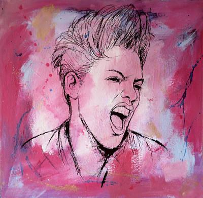 American Singer Mixed Media - Pink Art Painting Poster by Kim Wang