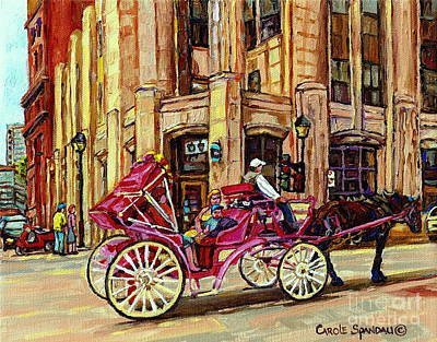 Montreal Streets Painting - Carriage Ride Rue Notre Dame Paintings Of Old Montreal Caleche Ride Old Port Quebec Art C Spandau by Carole Spandau