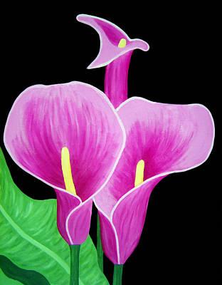 Pink Calla Lillies 2 Print by Angelina Vick