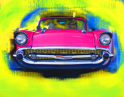 Pink Chevy Print by Doug Walker