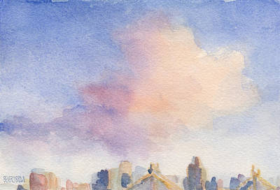 Nyc Skyline Painting - Pink Cloud And 59th St Bridge Watercolor Painting Of Nyc by Beverly Brown Prints
