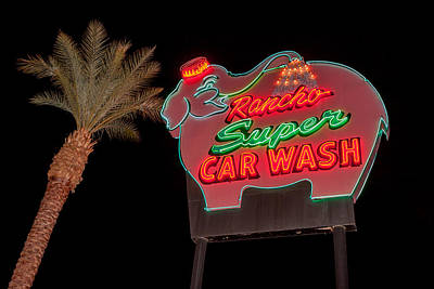 Palm Trees Photograph - Pink Elephant Car Wash by Scott Campbell