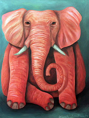 Fushia Painting - Pink Elephant Edit 2 by Leah Saulnier The Painting Maniac