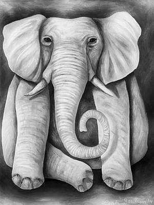 Fushia Painting - Pink Elephant Edit 5 by Leah Saulnier The Painting Maniac