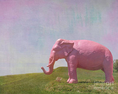 Pink Elephant Print by Kay Pickens