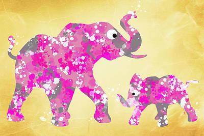 Digital Art - Pink Elephants by Christina Rollo