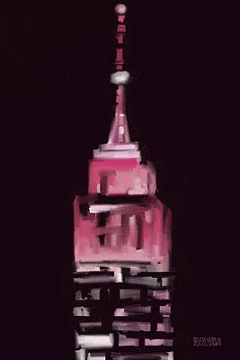 Night Scenes Painting - Pink Empire State Building New York At Night by Beverly Brown Prints