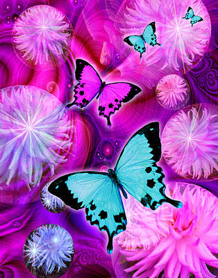 Pink Fantasy Flower Print by Alixandra Mullins