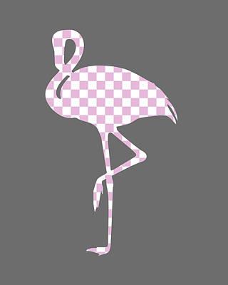 Birds Digital Art - Pink Flamingo Checkered by Flo Karp